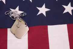 Dog Tags on Flag Stock Photography