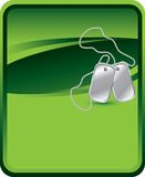 Dog tags on green background Royalty Free Stock Photography