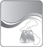 Dog tags on silver wave background Royalty Free Stock Photo