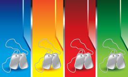 Dog tags on vertical colored banners Royalty Free Stock Photos