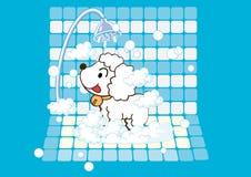Dog taking a bath Royalty Free Stock Image