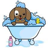 Dog washing in the bathtub stock illustration