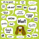 Dog Talk. Dog phrases in various comic balloons Stock Photography