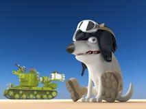 Dog tanker 3d illustration. Funny bull terrier on blue background. Cartoon character Stock Images