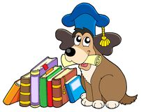 Dog teacher with books. Vector illustration Stock Photography