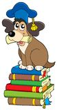 Dog teacher on pile of books Royalty Free Stock Photography