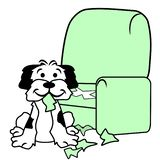 Dog Tearing Up Sofa Chair. White puppy dog with black patches scratching hole in chair Upholstery stock illustration