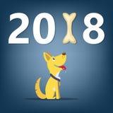 Dog tecknade filmen för begreppet för banret för det nya året för symbol 2018 Royaltyfri Foto