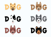 Dog text. Designed using cute head dog, graphic vector Royalty Free Stock Image