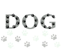 Dog text with paw print vector Stock Photography