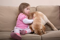 Dog Therapy and Girl Royalty Free Stock Images