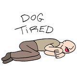 Dog tired man metaphor. An image of a metaphor for doll tired man vector illustration