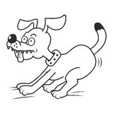 Dog and tongue, coloring. Brown dog is romping. Dog with his tongue hanging out. Coloring book for children Stock Images