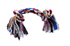 Dog toy. Colorful cotton  on a white background royalty free stock photography