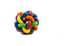Dog Toy. A multi coloured rubber ball dog toy royalty free stock images