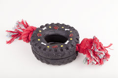 Dog toy. Rubber tire with pulling cord for dog play. Isolated on white background Stock Photography