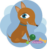 Dog with toys royalty free illustration