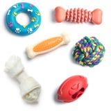 Dog toys. Variety of dog toys isolated on white background Stock Photos