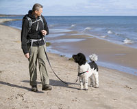 Dog Trainer at Beach Stock Photo