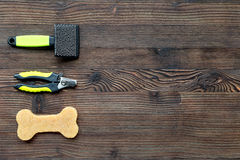 Dog training and care concept on rustic background top view mock up Royalty Free Stock Photo