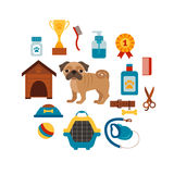 Dog training concept with pet care elements. Royalty Free Stock Photo