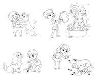 Dog training. Funny cartoon character Royalty Free Stock Photo