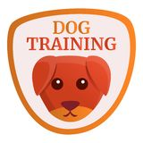 Dog training logo, cartoon style vector illustration