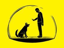 Dog training , A man training a dog Stock Image