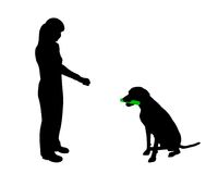 Dog training (obedience) vector illustration