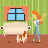 Dog training vector concept. Flat design. Woman scolding dog because excrement on the carpet in the middle of the room. Pet problematic behavior. Attention and Stock Photos