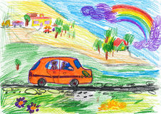 Dog travel on auto, child drawing Stock Photo