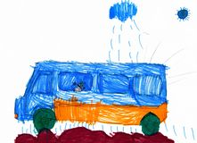 Dog travel on auto. childs drawing. Royalty Free Stock Photography