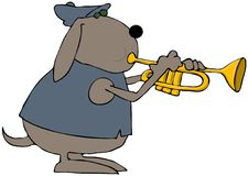 Dog Trumpeter. This illustration depicts a dog playing a trumpet Stock Photo