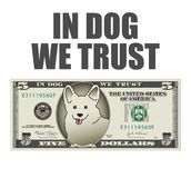 In Dog We Trust 5 dollar bill. stock illustration