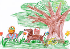 Dog and turtle in forest. child drawing Royalty Free Stock Photo