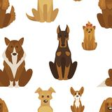 Dog types and breeds canine animals seamless pattern isolated on white background vector. Animalistic set with puppies and doggy, poodle and bulldog, canis vector illustration