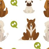 Dog types and breeds canine animals seamless pattern isolated on white background vector. Animalistic set with puppies and doggy, poodle and bulldog, canis royalty free illustration