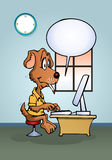 Dog using computer Stock Images