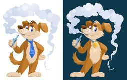 Dog vaper. Funny dog smoking electronic cigarette. Cartoon styled vector illustration. Elements is grouped. On white and dark background. No transparent Royalty Free Stock Images