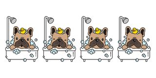 Dog vector french bulldog bath shower rubber duck cartoon character icon logo bubble soap illustration doodle brown. Cute stock illustration