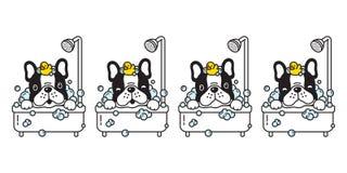 Dog vector french bulldog bath shower rubber duck cartoon character icon logo bubble soap illustration doodle black. Dog vector french bulldog bath shower rubber royalty free illustration