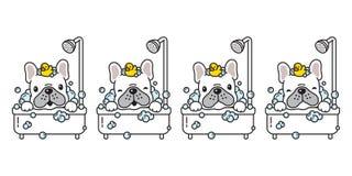 Dog vector french bulldog bath shower rubber duck cartoon character icon logo bubble soap illustration doodle white. Cute vector illustration