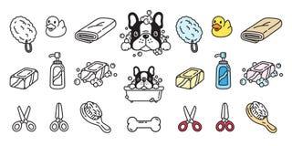 Dog vector french bulldog icon bath shower soap shampoo rubber duck cartoon character illustration doodle. Cute royalty free illustration