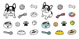 Dog vector french bulldog icon paw bone food bowl ball toy footprint cartoon character illustration doodle. Cute vector illustration