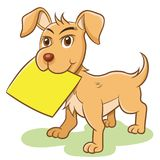 Dog vector holding empty paper note label. royalty free illustration