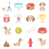Dog 16 vector icons set in cartoon style. Stock Images
