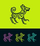 Colored dog outline silhouette in ethnic style stock illustration
