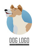 Dog Vector Logo in Flat Style Design. Dog vector logo in flat style. Fox terrier bust in the blue circle illustration for pet shop, breed club logotype, app icon Stock Image