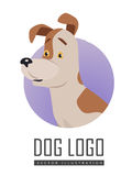 Dog Vector Logo in Flat Style Design. Dog vector logo in flat style. Russell Terrier bust in the blue circle illustration for pet shop, breed club logotype, app Stock Photos