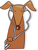 Dog vet. Cartoon illustration of dog vet with stethoscope Royalty Free Stock Photos